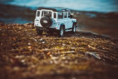 Discovery Trip. To the ocean of allroad jeep stock image
