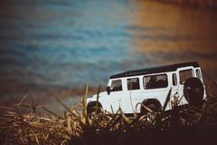 Discovery Trip. To the ocean of allroad jeep royalty free stock images