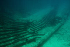 Discovery underwater tour. To shipwreck. Adventure scuba tour Royalty Free Stock Image