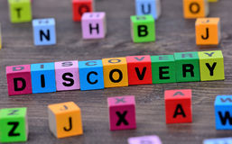 Discovery word on table Royalty Free Stock Images