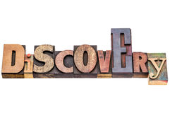 Discovery word in vintage wood type Royalty Free Stock Photo