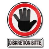 Discrétion svp Photo stock