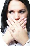 Discreet awkward meaningful silence pretty woman Royalty Free Stock Photo