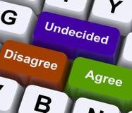 Discrepe están de acuerdo las llaves indecisas para la encuesta en línea Foto de archivo