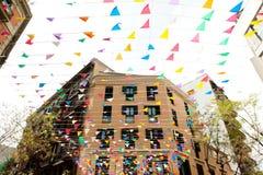 Discrict de Barceloneta à Barcelone - bâtiments et décorations Photographie stock libre de droits
