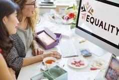 Discriminação racista Conce dos direitos fundamentais da equidade da igualdade foto de stock