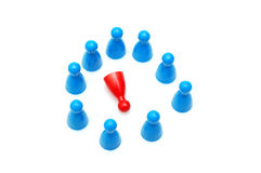 Discrimination. Conceptual - defeated red pawn, racial discrimination Stock Photo