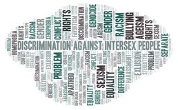 Discrimination Against Intersex People - type of discrimination - word cloud. Wordcloud made with text only royalty free illustration