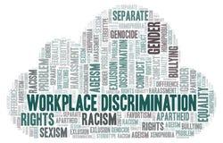 Discrimination de lieu de travail - type de discrimination - nuage de mot illustration libre de droits