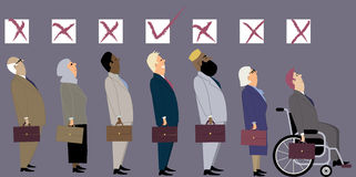 Discrimination at job interview. Line of diverse candidates for a job with a check boxes above their heads as a metaphor for a discrimination during an stock illustration