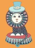 Discrimination raciale dessin d'art de thème de cirque - lion dedans Photo stock