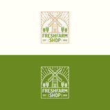 Discrimination raciale réglée de ferme de logo frais de boutique avec le moulin et blé pour le natu Photo libre de droits