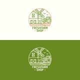 Discrimination raciale réglée de ferme de logo frais de boutique avec le paysage de ferme pour le natu Images stock