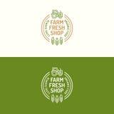 Discrimination raciale réglée de logo frais de boutique de ferme avec le tracteur et le blé d'icône Images stock