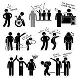 Discrimination Racist Prejudice Biased Cliparts. A set of human pictogram representing discrimination on disabled, race, career status, age, body figure, gender vector illustration