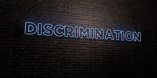 DISCRIMINATION -Realistic Neon Sign on Brick Wall background - 3D rendered royalty free stock image. Can be used for online banner ads and direct mailers royalty free illustration
