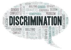 Discrimination - type of discrimination - word cloud. Wordcloud made with text only royalty free illustration
