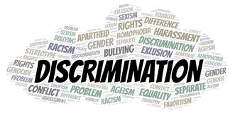 Discrimination - type of discrimination - word cloud. Wordcloud made with text only stock illustration