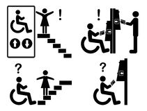 Discrimination versus Inclusion. Accessible automated teller machines and stairway accessibility for wheelchair user to ban discrimination Stock Photography
