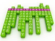 Discrimination in word cloud. 3d imagen Discrimination in word cloud royalty free illustration