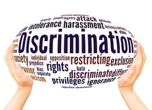 Discrimination word cloud hand sphere concept. On white background vector illustration