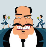 Discrimination of workers. Boss control employees. Businessman marionette. Big boss with office workers Vector Illustration