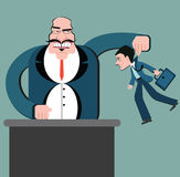 Discrimination of workers. Puppets business. Boss control employees. Big boss and small workers Vector Illustration