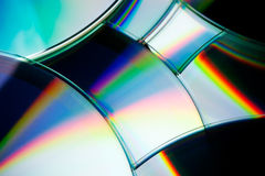Discs. DVD discs layed over a black background photographed in studio Stock Images