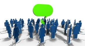 Discurso à multidão, com mensagem verde do balão ilustração royalty free