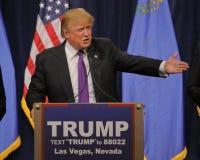 Discurso da vitória de Donald Trump que segue a vitória grande no comitê de Nevada, Las Vegas, nanovolt Fotografia de Stock