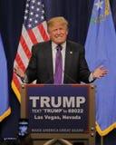 Discurso da vitória de Donald Trump que segue a vitória grande no comitê de Nevada, Las Vegas, nanovolt Fotos de Stock Royalty Free