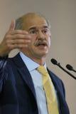 Discurso de George Papandreou Fotos de archivo libres de regalías