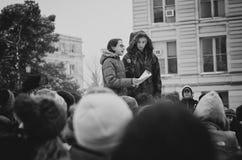 Discurso de los estudiantes de Junior High School en marzo por nuestras vidas Imagenes de archivo