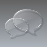 Discurso de vidro de duas bolhas no fundo cinzento. Fotos de Stock