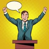 Discurso del candidato del Presidente en el podio Imagen de archivo