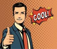 Discurso del hombre de negocios y de la burbuja de la historieta, pulgar para arriba Imagenes de archivo