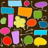 Discurso e setas da bolha no branco Fotografia de Stock Royalty Free