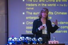 Discurso económico del consejero Imagen de archivo libre de regalías
