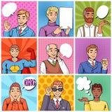 Discurso falador da bolha do caráter cômico do homem de negócios dos desenhos animados do popart do vetor do homem ou homem comic ilustração do vetor