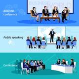 Discurso público de la conferencia 3 banderas planas Foto de archivo libre de regalías