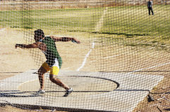 Discus 1. Discus competition in a college track meet Stock Photo