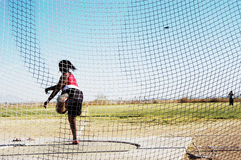 Discus 5. Women's discus competition at a college track meet Royalty Free Stock Photography
