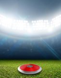 Discus In Generic Floodlit Stadium. A discus in a generic stadium resting on an unmarked green grass pitch at night under illuminated floodlights royalty free illustration