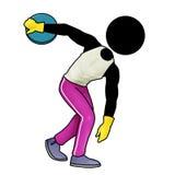 Discus throw. Silhouette-man sport icon - discus throw Stock Photography