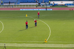 Discus throw - field referees. Field referees at the discus throw on Diamond League on Stadio Olimpico Olympic stadium in Rome, Italy in 2016 stock photos