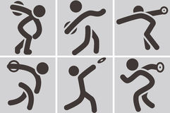 Discus throw icons. Summer sports icons -  discus throw icons Stock Image