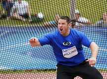 Discus throw man canada expression. Reaction from discus thrower John Pilling at the Canadian Track & Field Championships June 22, 2013 in Moncton, Canada stock photos