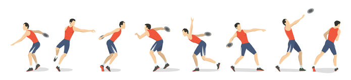 Discus throw set. Set of athlete`s motions of throwing the disc Royalty Free Stock Images