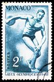 Discus throw, Summer Olympics 1948, London serie, circa 1948. MOSCOW, RUSSIA - MARCH 30, 2019: A stamp printed in Monaco shows Discus throw, Summer Olympics 1948 royalty free stock photo