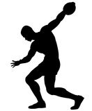 Discus thrower. Editable vector silhouette of a man about to throw a discus Stock Image